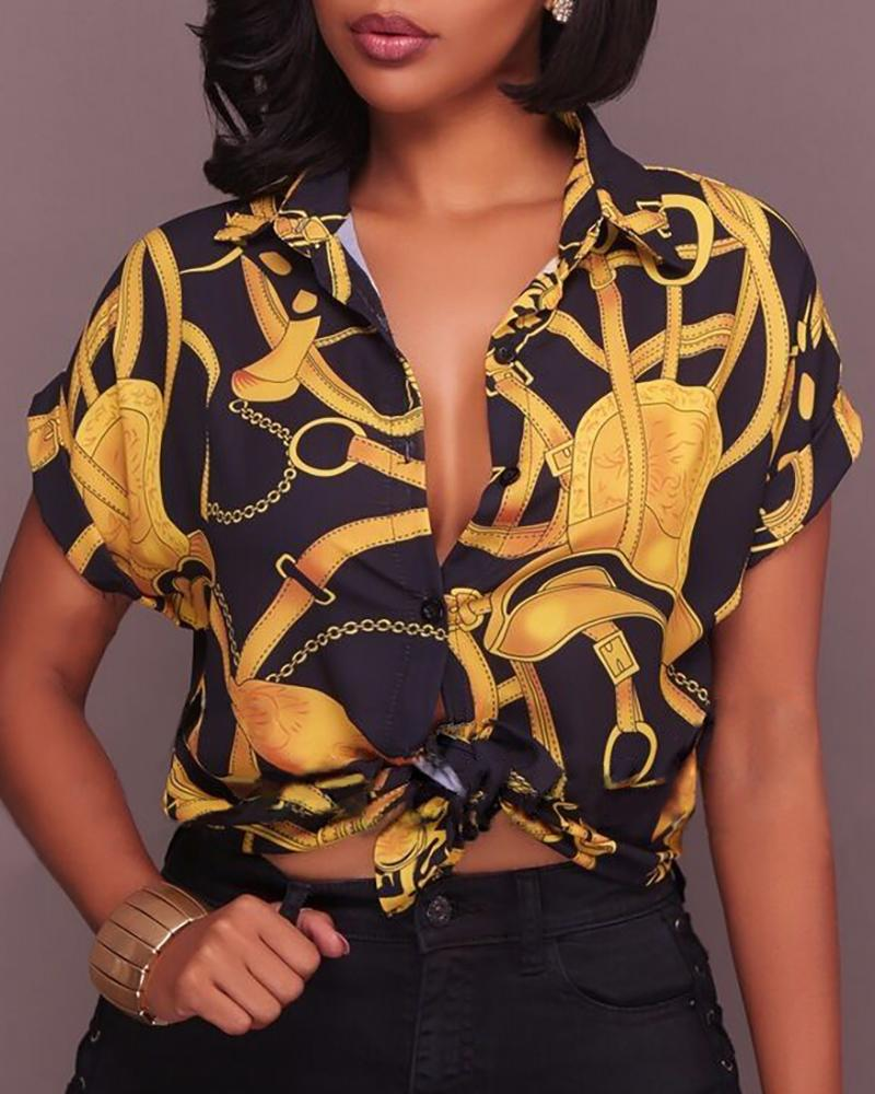 Short Sleeve Knotted Chain Print Blouse фото