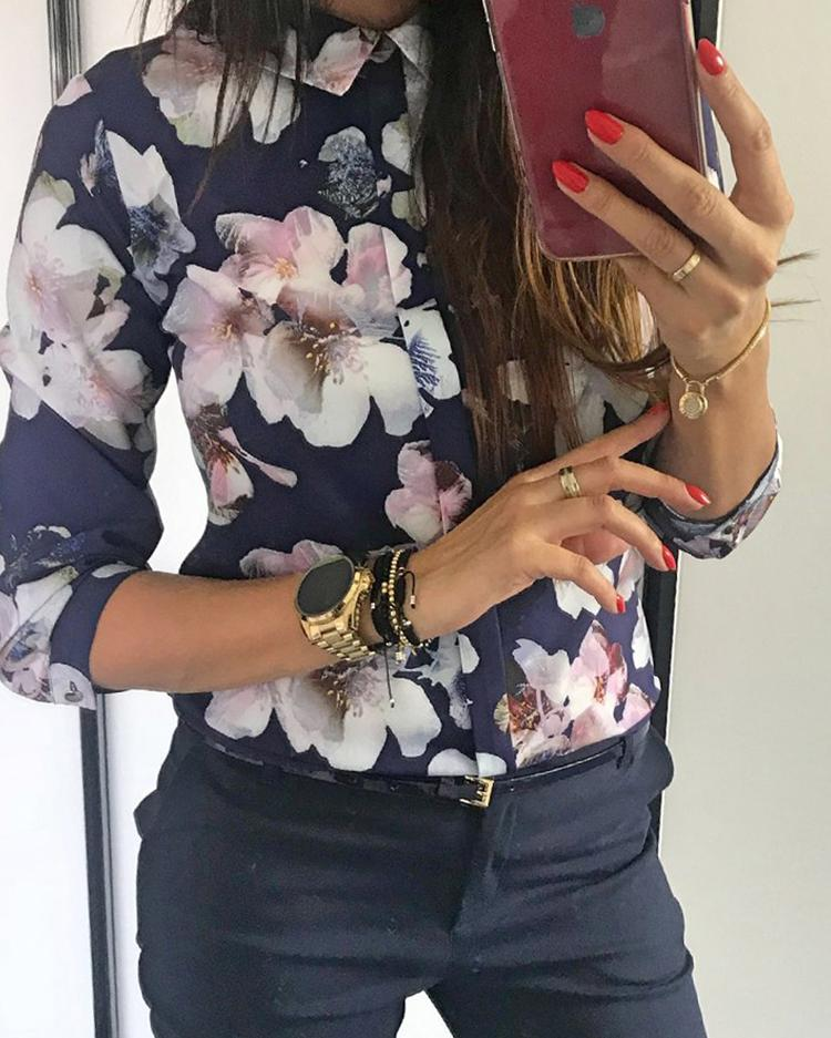 Floral Print Button Design Long Sleeve Blouse фото