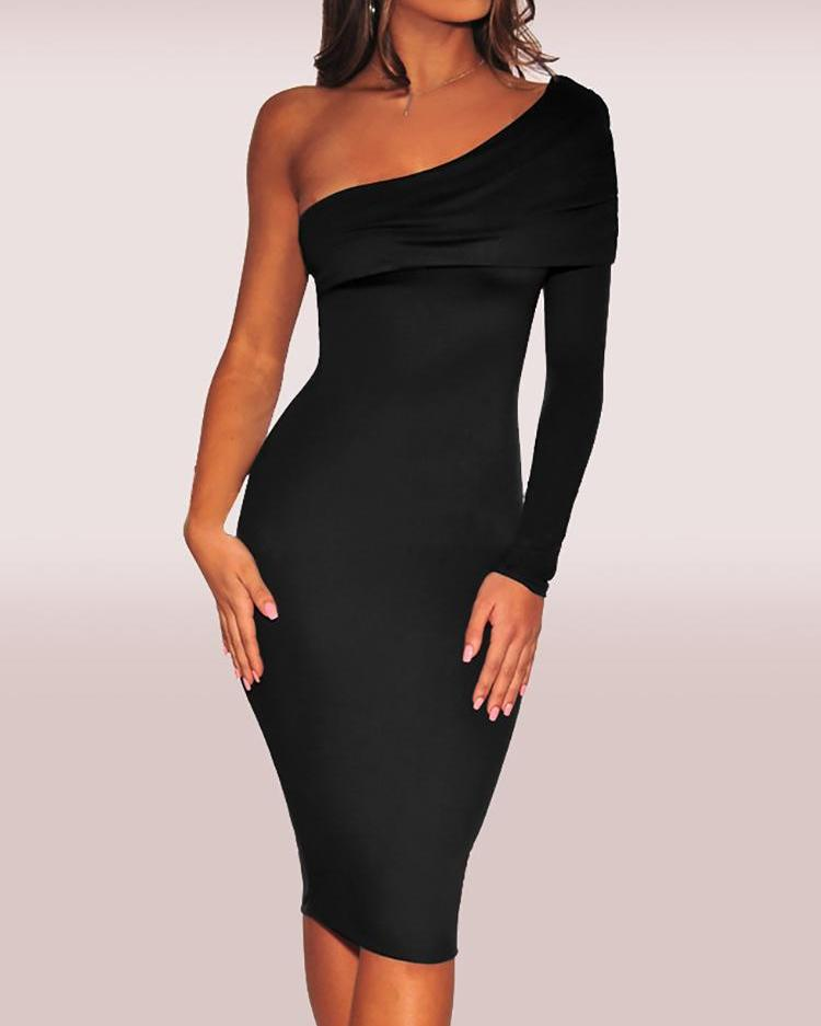 Fold-Over One Shoulder Slinky Dress
