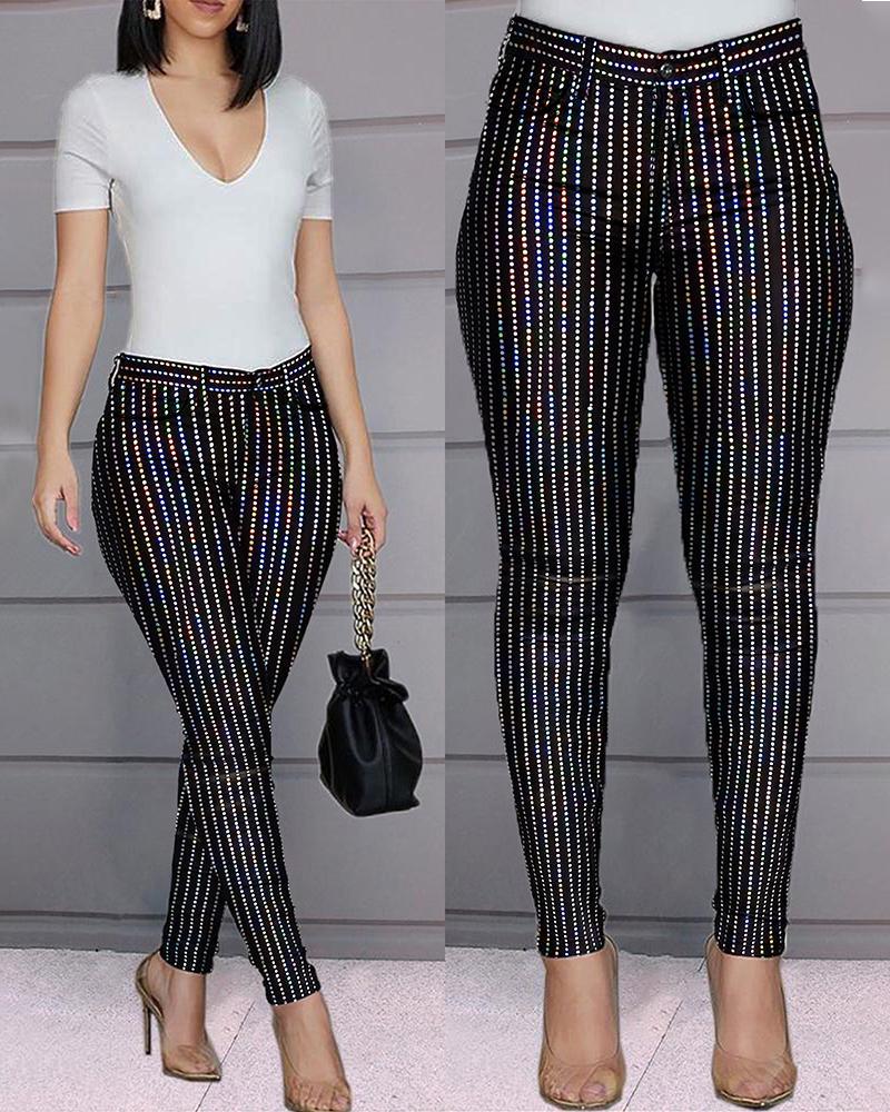 chicme / Pantalón de lentejuelas de cintura alta con rayas brillantes