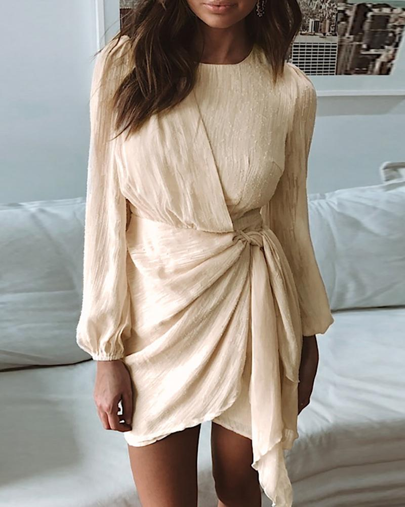 Solid Round Neck Surplice Wrap Tied Ruched Dress фото