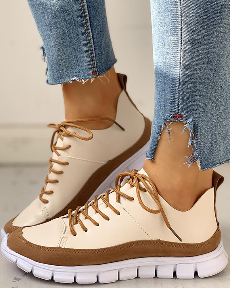 Lace-Up Suede Insert Sneakers фото