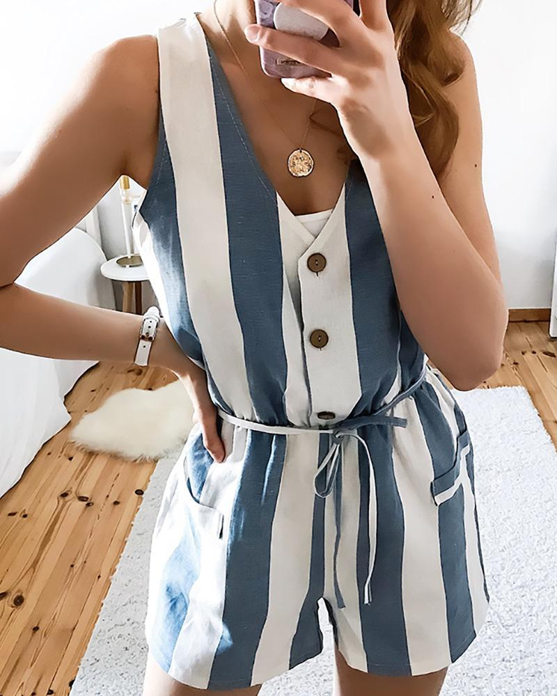 Sleeveless Striped Buttoned Design Romper фото