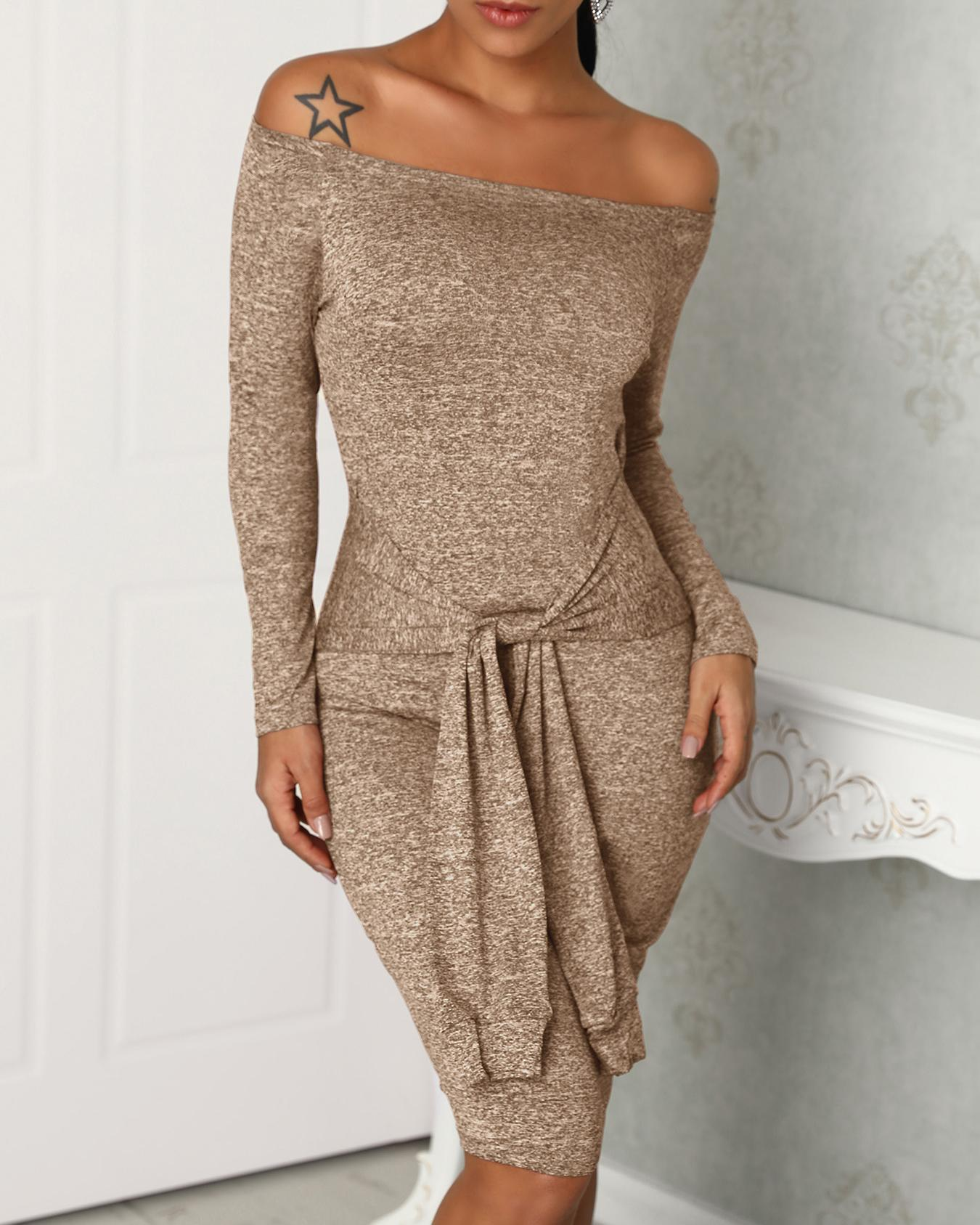 Off Shoulder Long Sleeve Knotted Bodycon Dress фото