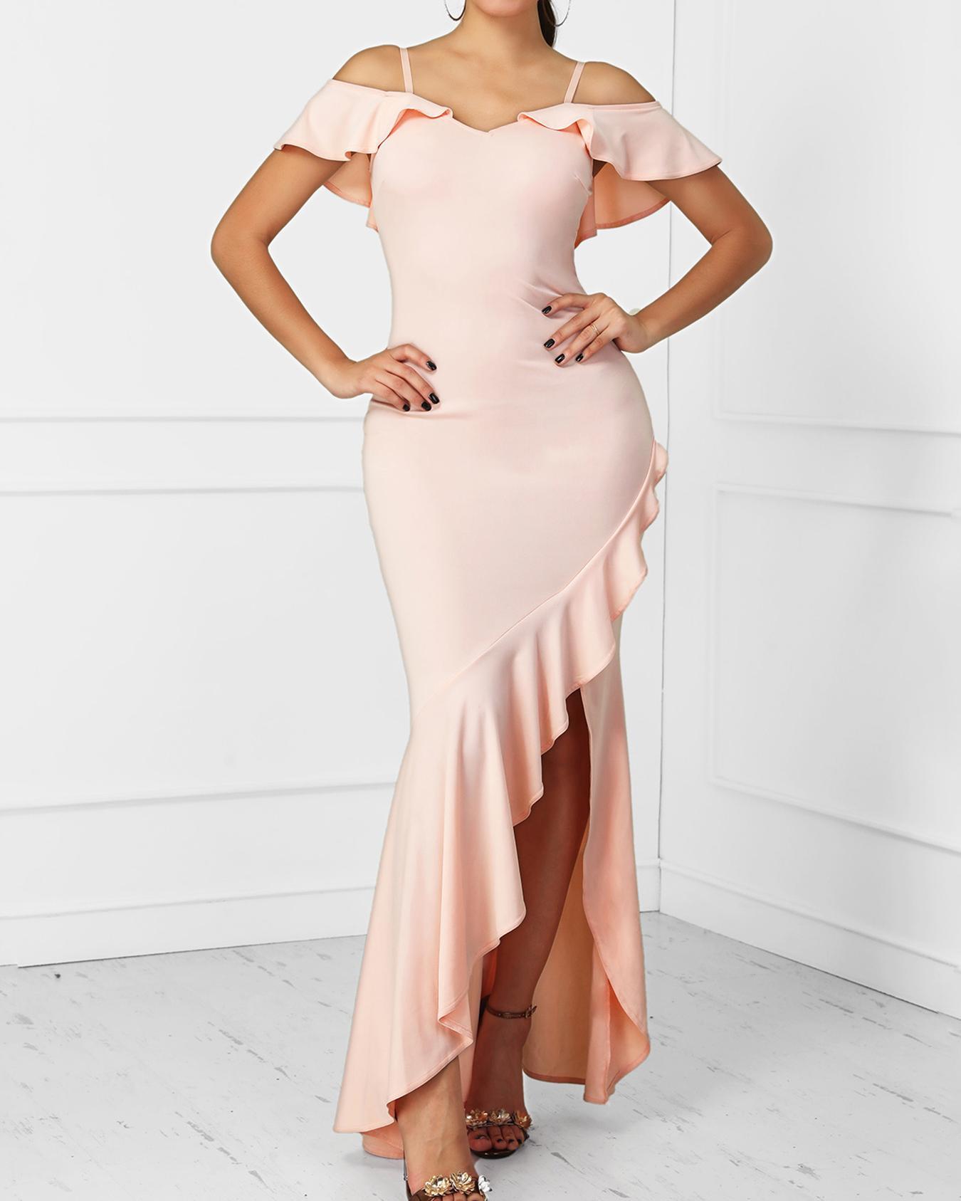 Flounced Hem Cold Shoulder Slit Evening Dress
