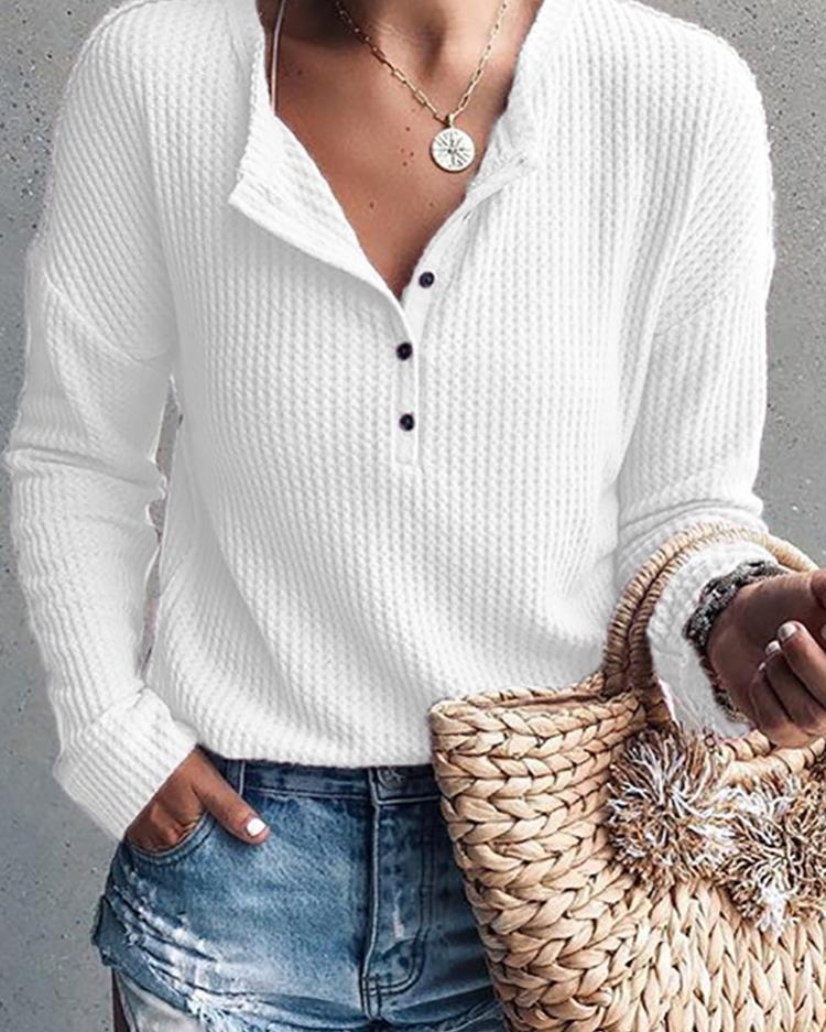 Solid Button Design Casual Top фото