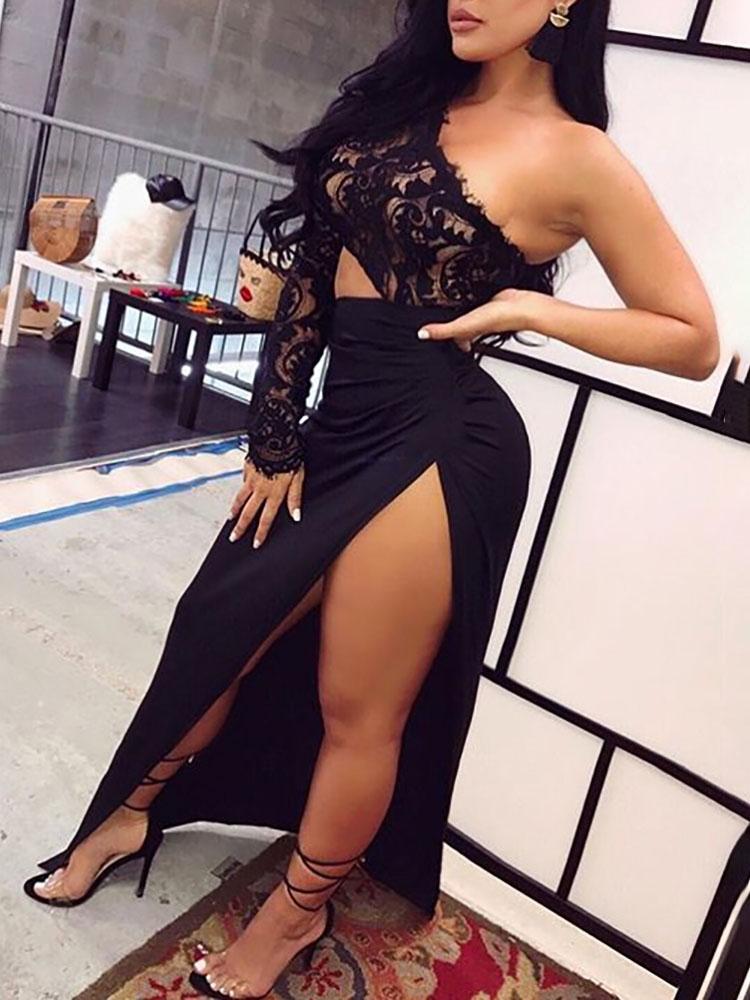 Купить со скидкой Irregular One Shoulder Lace Slit Maxi Dress