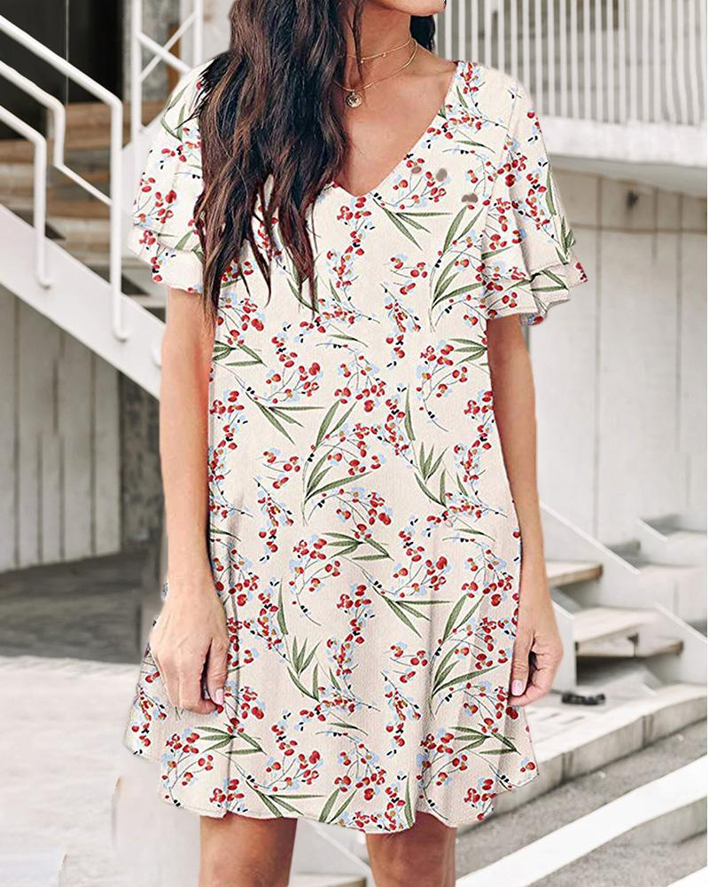 ivrose / Vestido con estampado de hojas florales y cuello en V