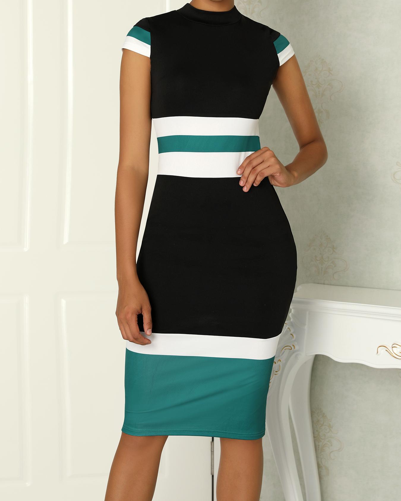 ivrose / Contraste Color Striping Splicing Bodycon Dress
