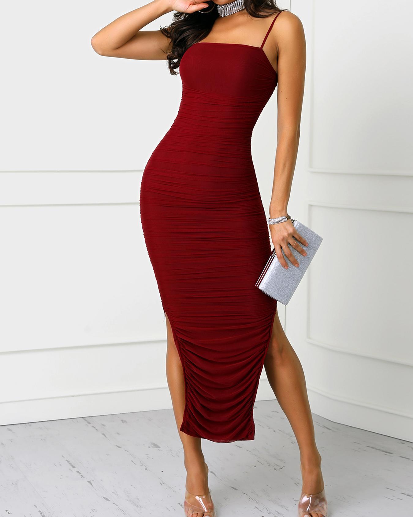 Spaghetti Strap Scrunched Side Slit Party Dress