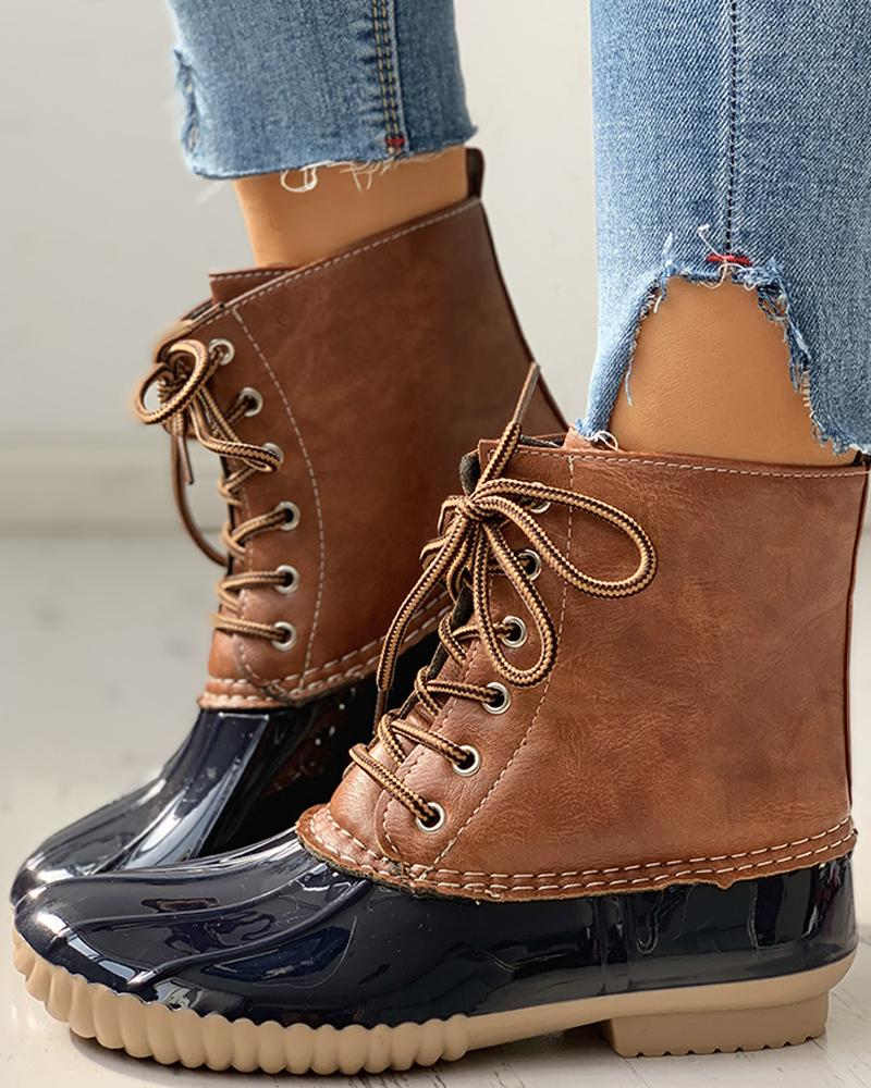 chicme / Eyelet Lace-Up Sequins Flat Ankle Boots