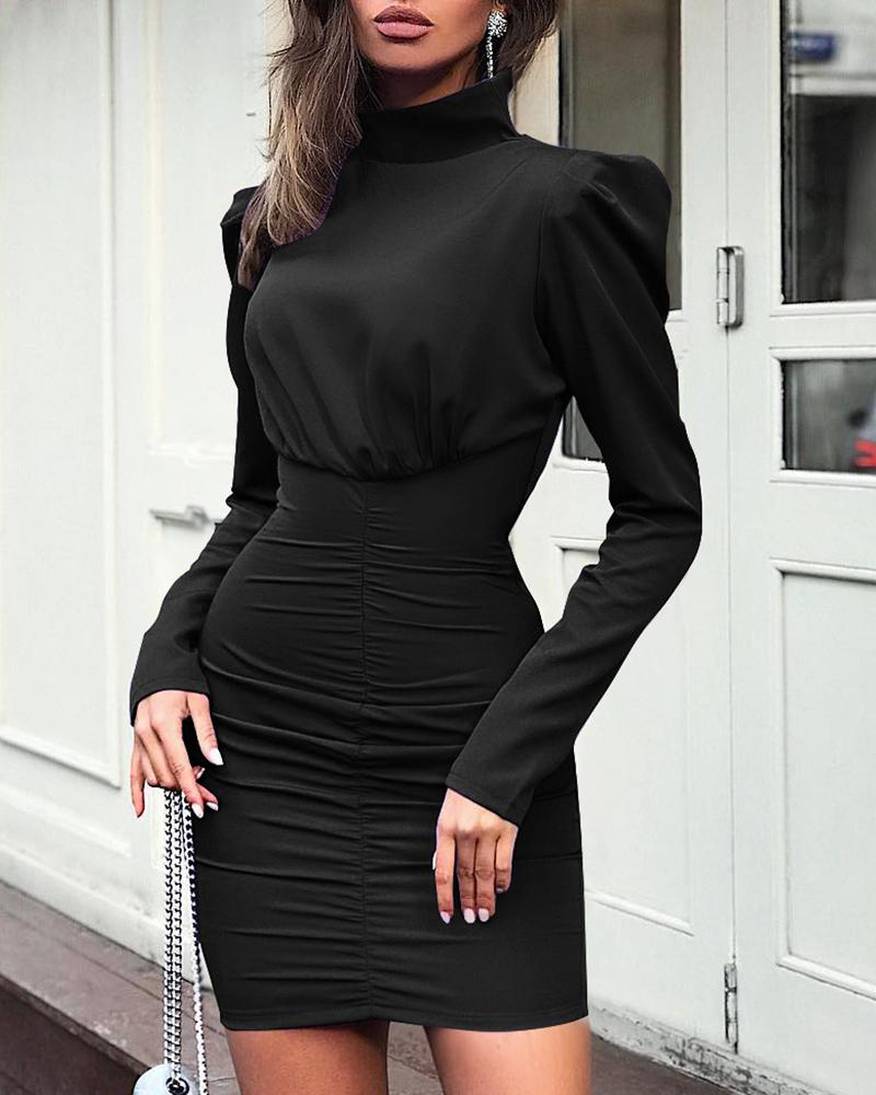 Solid High Neck Long Sleeve Ruched Dress фото