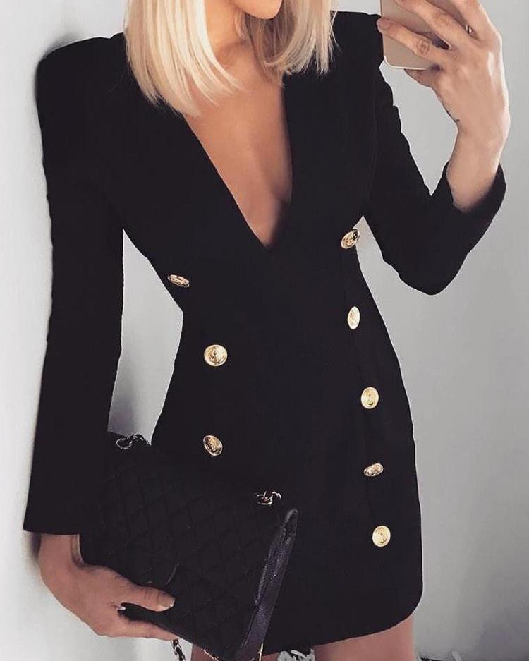chicme / Double-Breasted Long Sleeve Blazer Dress