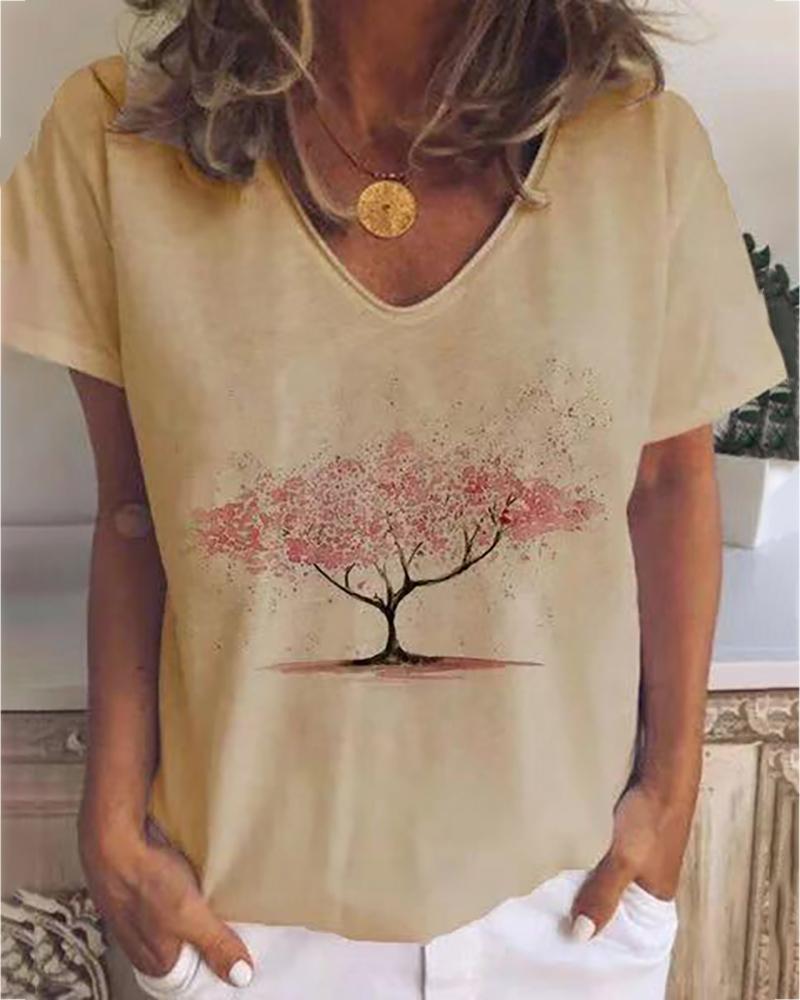Tree Print V-neck Casual T-shirt фото