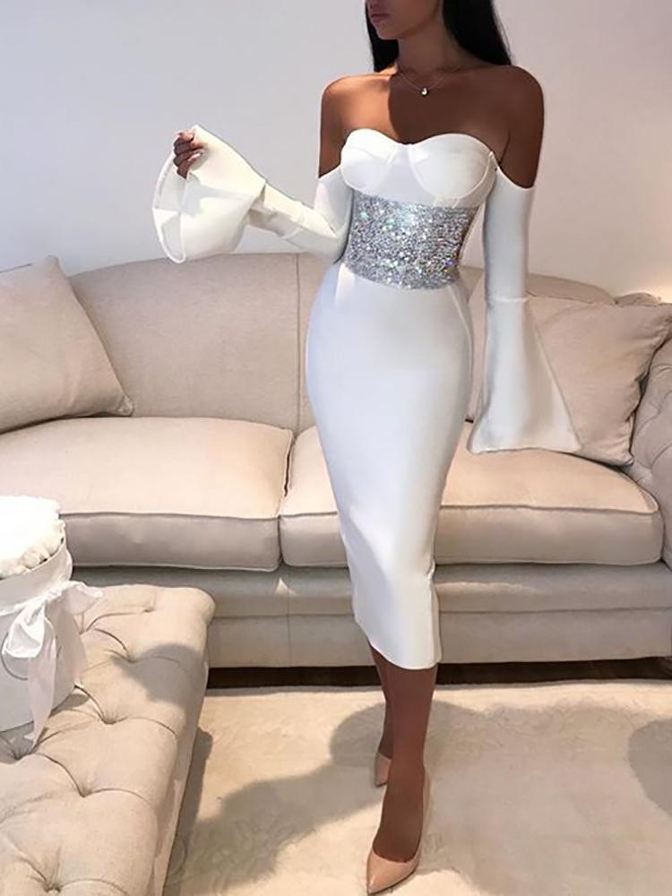 Elegant Off Shoulder Flare Sleeve Bodycon Dress фото
