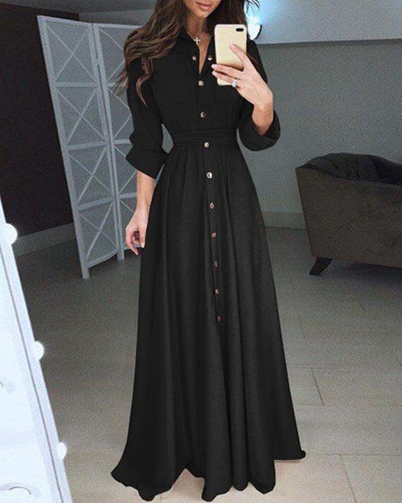 Snap Button Sheath Maxi Dress фото