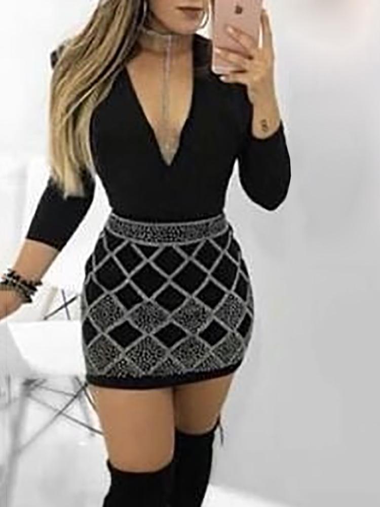 Glittering Deep V Long Sleeve Bodycon Dress