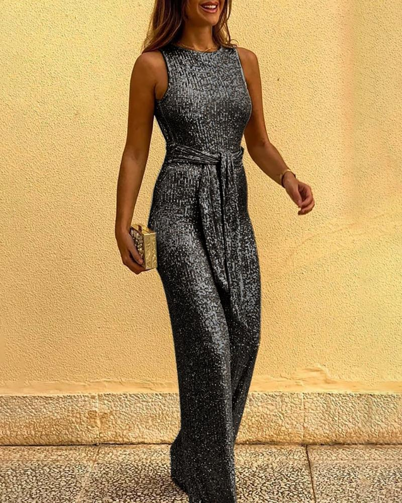 Glitter Round Neck Sleeveless Backless Sequins Jumpsuit фото