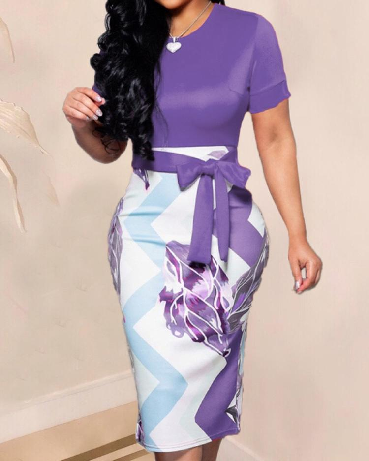 Contrast Color Abstract Print Midi Dress фото