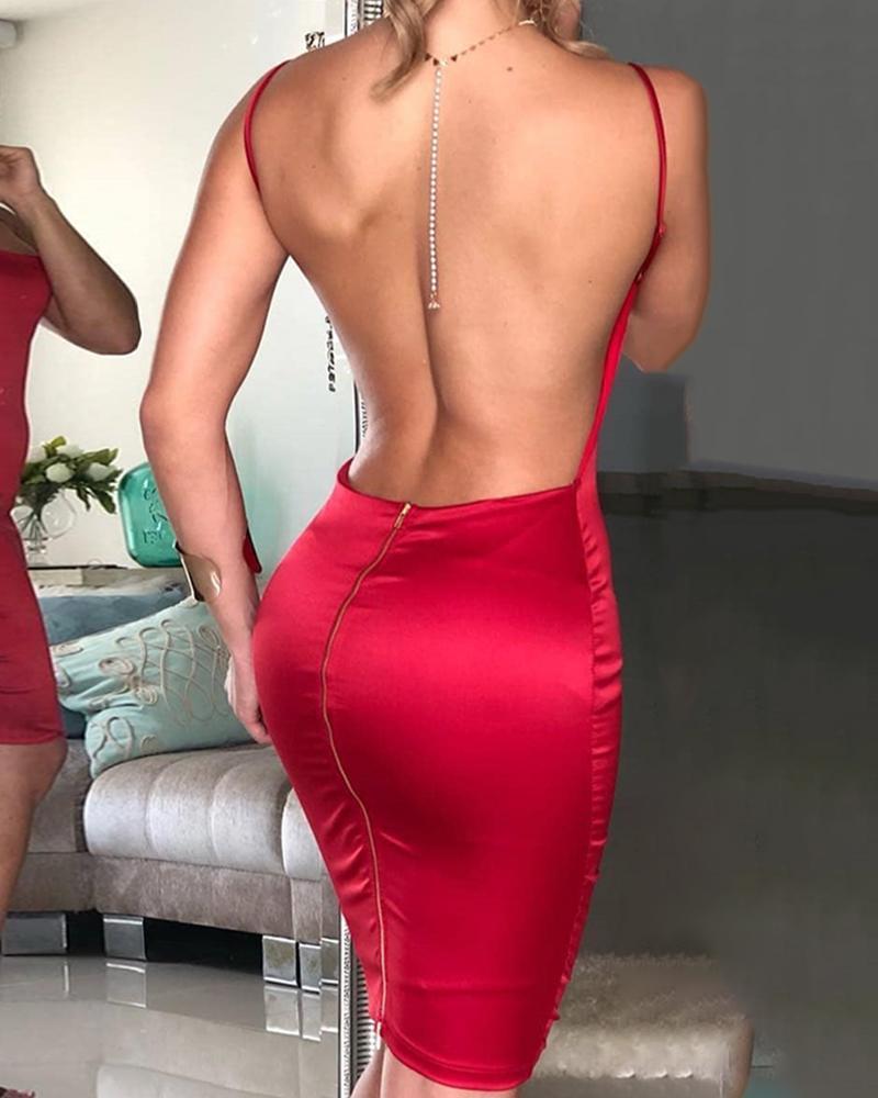 boutiquefeel / Vestido de Bodycon de volta cinta de espaguete aberto