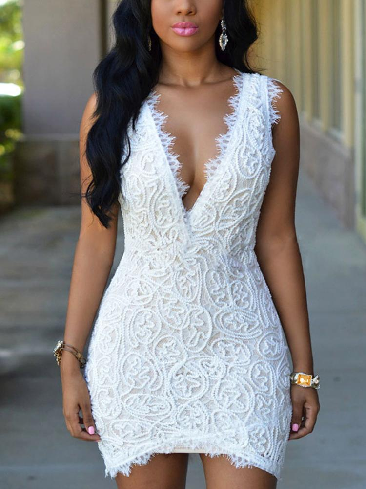 Sexy Double V Lace Crochet Mini Dress - White
