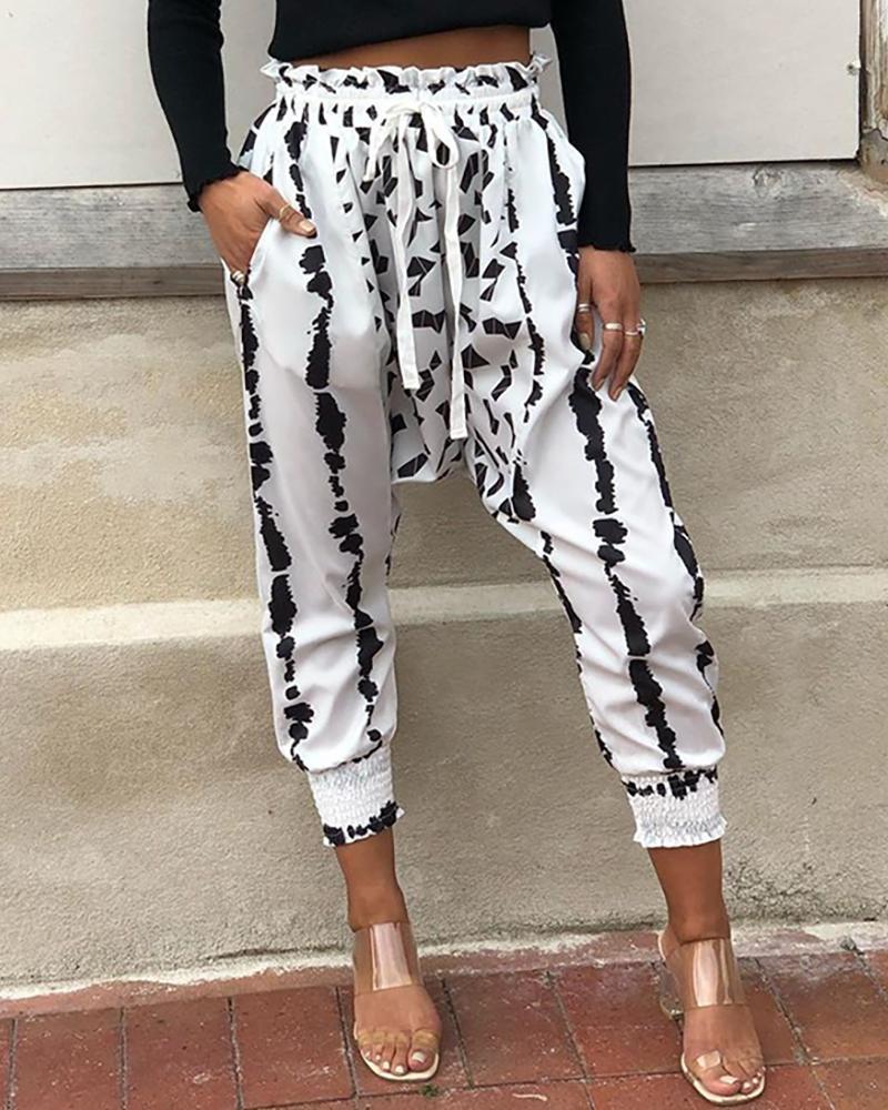 ivrose / Imprimir pantalones casuales con cintura elástica recortada
