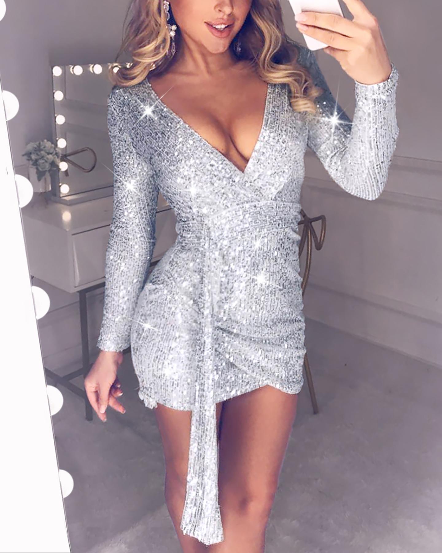 Sequins Long Sleeve Tight Wasist Dress ivrose фото