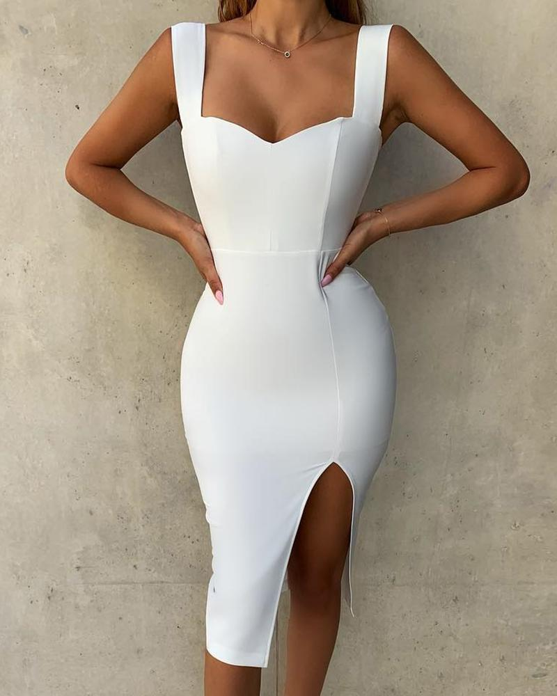 Solid Thick Strap Slit Bodycon Dress фото
