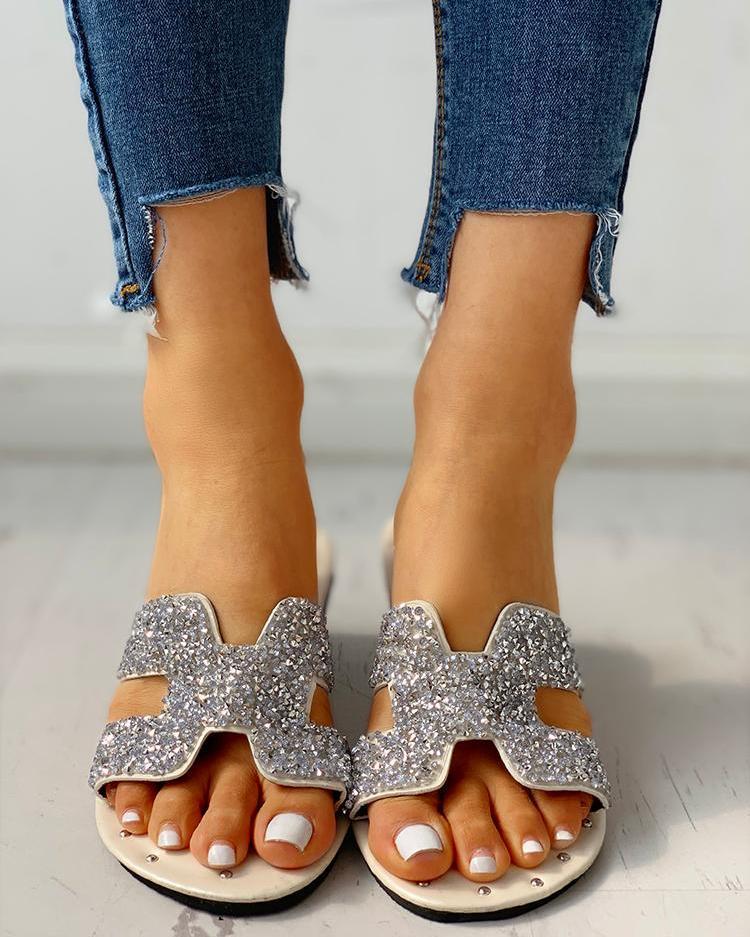 Sequins Pattern Cut Out Flat Sandals
