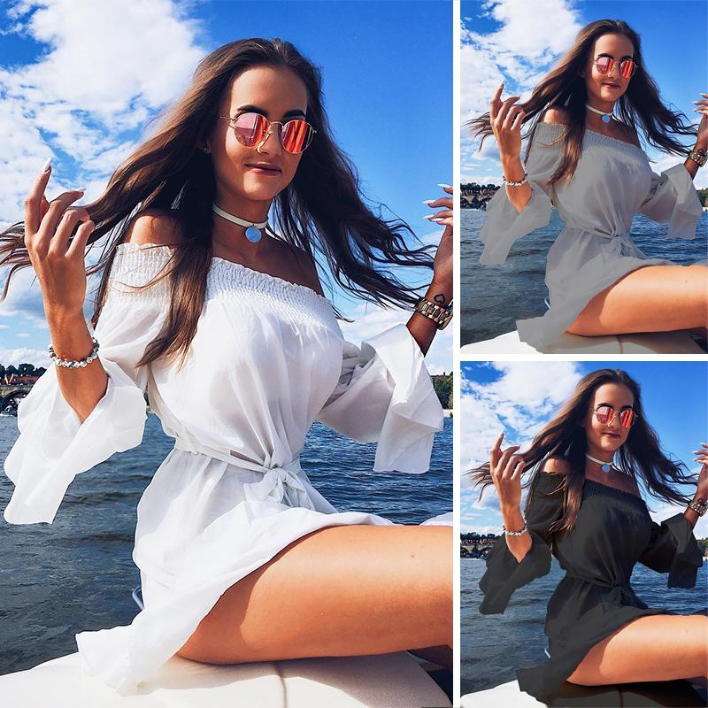 Sexy Flare Sleeve Drop Hem Pleated Chiffon Casual Dress, White