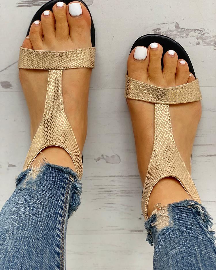 chicme / Sandálias planas de dedo do pé aberto T-cinta Design