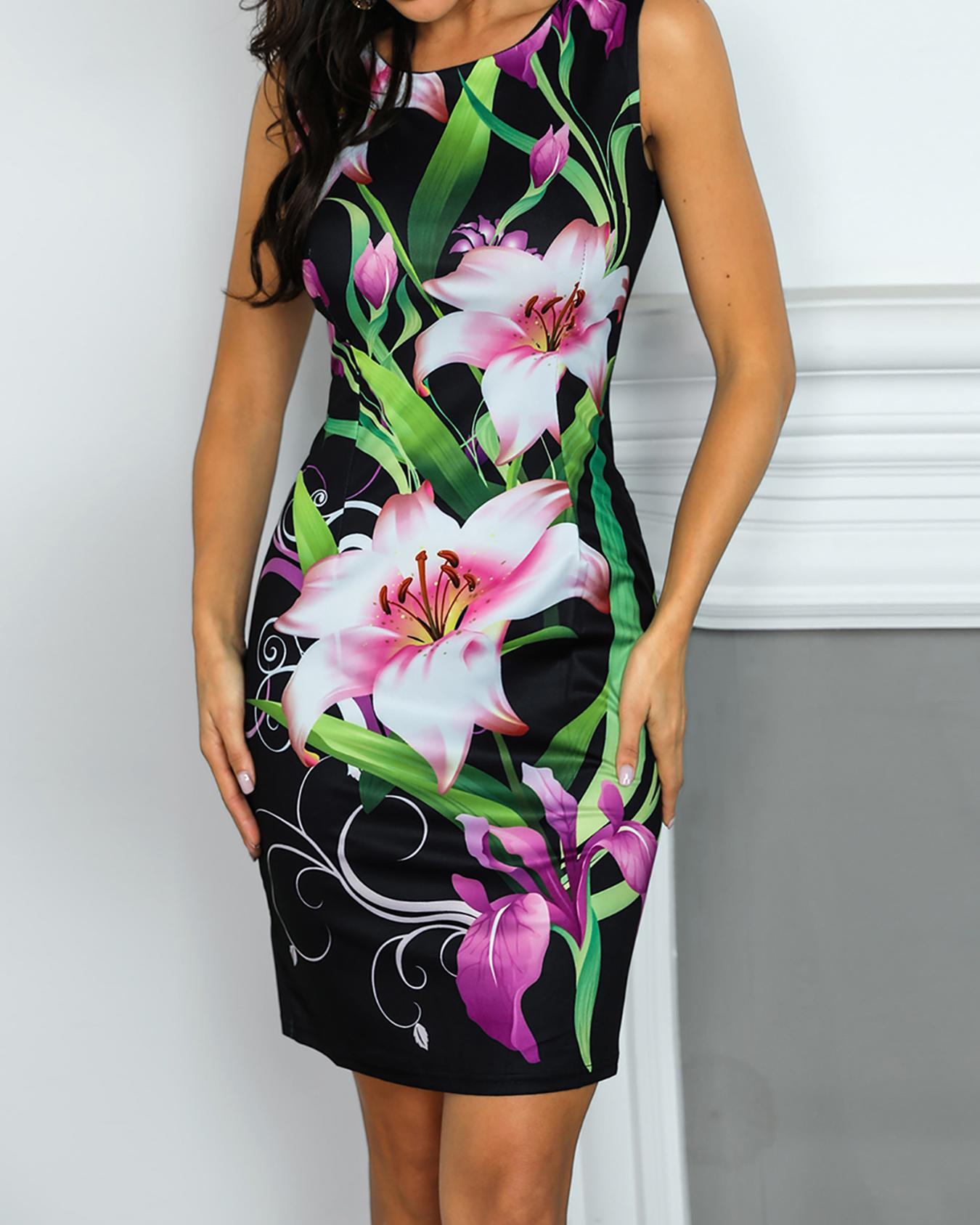 Floral Print Slit Back Bodycon Dress, Black