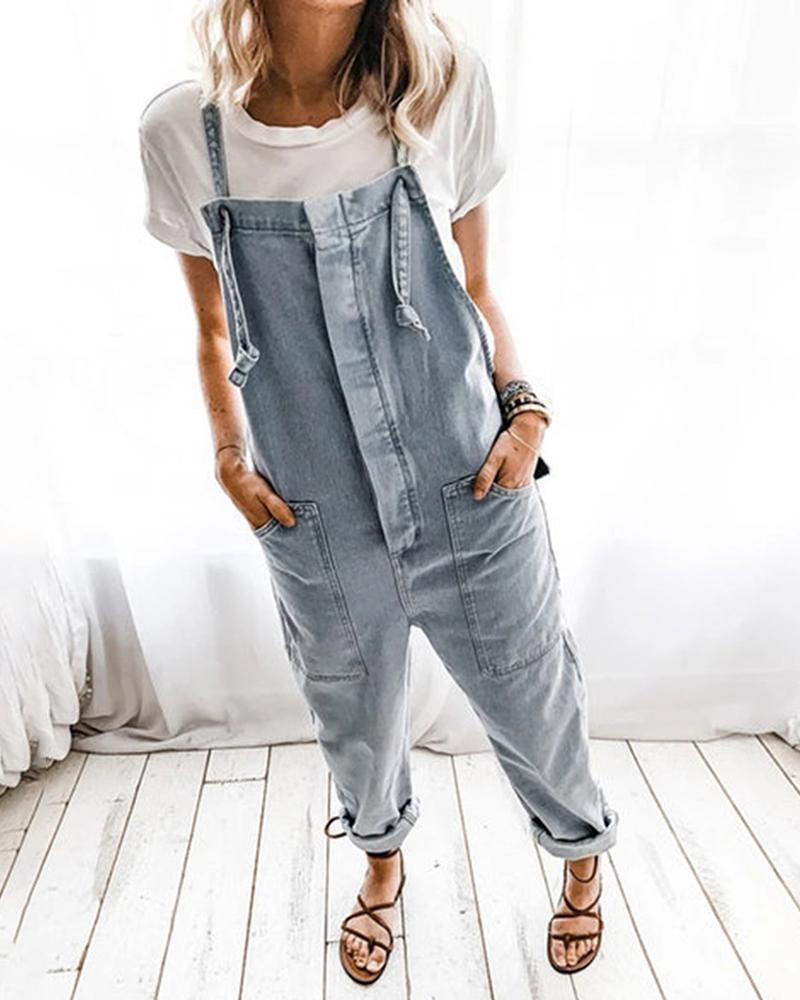 Pocket Design Casual Denim Suspender Jumpsuit фото