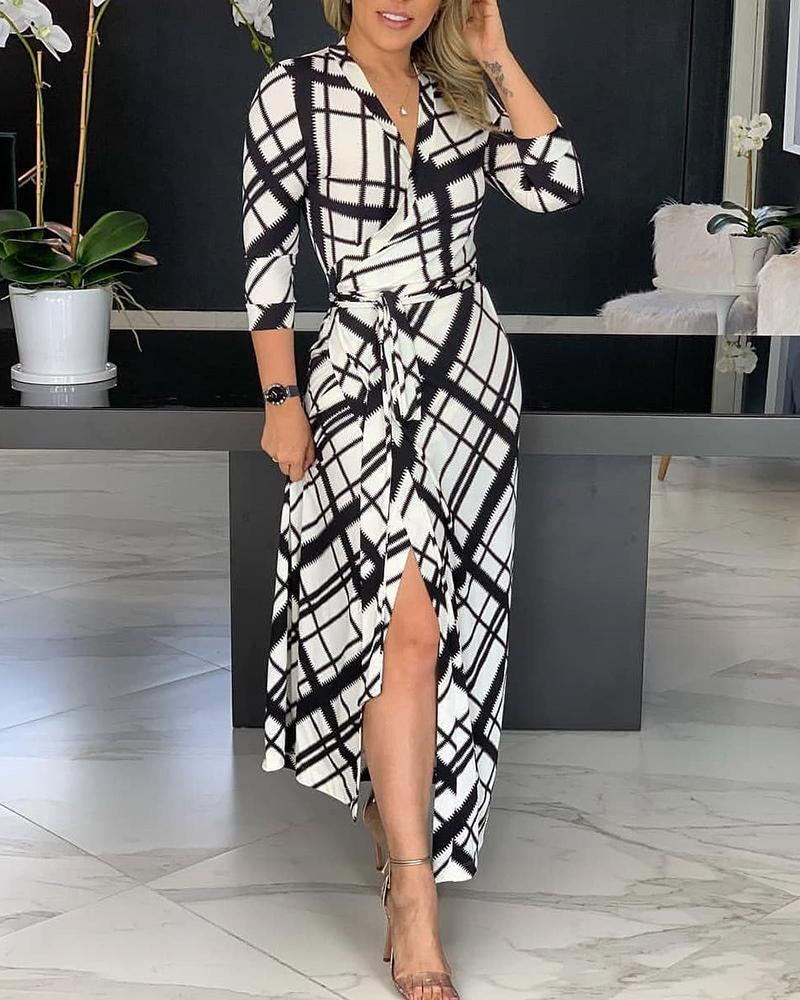 Grid Surplice Wrap Slit Maxi Dress