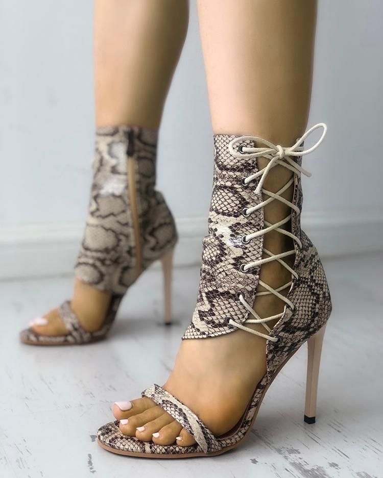 boutiquefeel / Stylish Open Toe Lace-up Stiletto Sandals