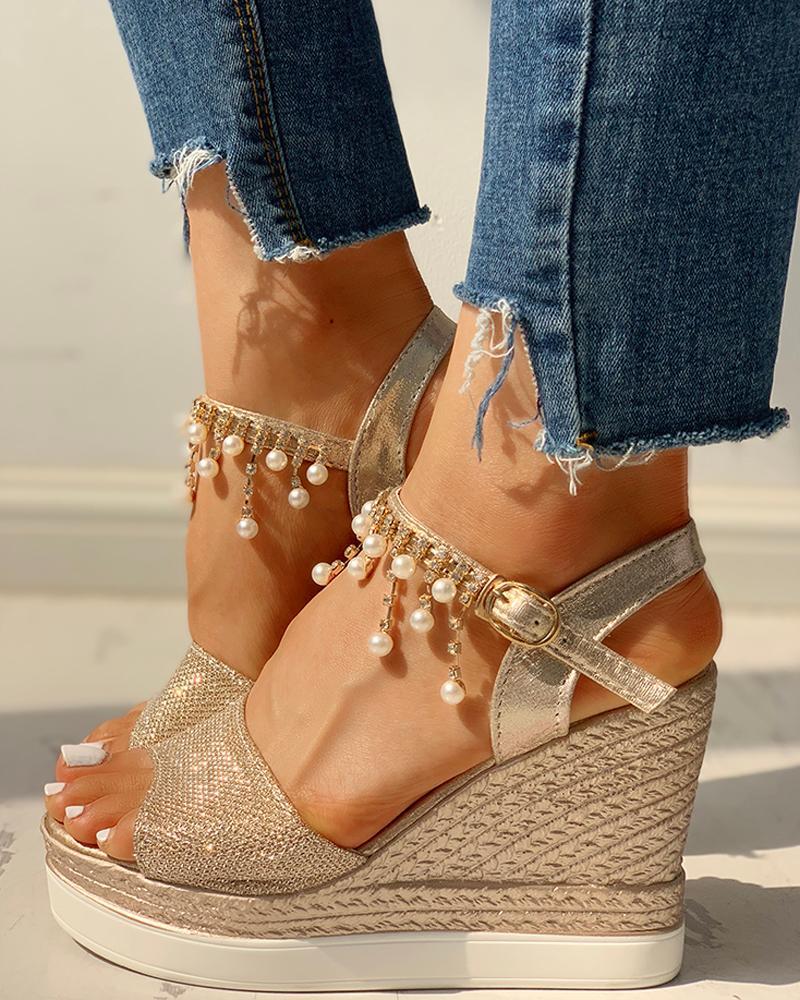 Bead Studded Detail Platform Wedge Sandals фото