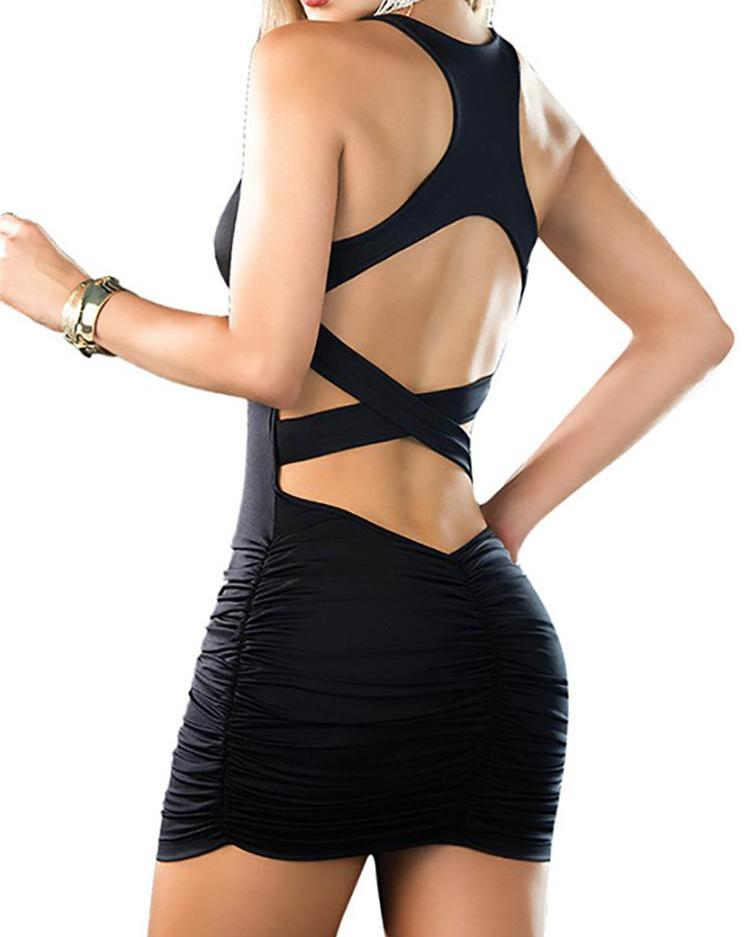 Купить со скидкой Stylish Black Shirring Racer Crisscross Back Bodycon Dress