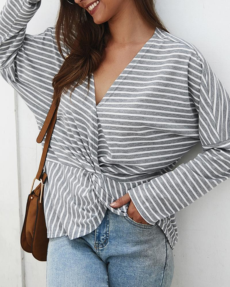 Long Sleeve V-neck Twist Front Striped Top фото