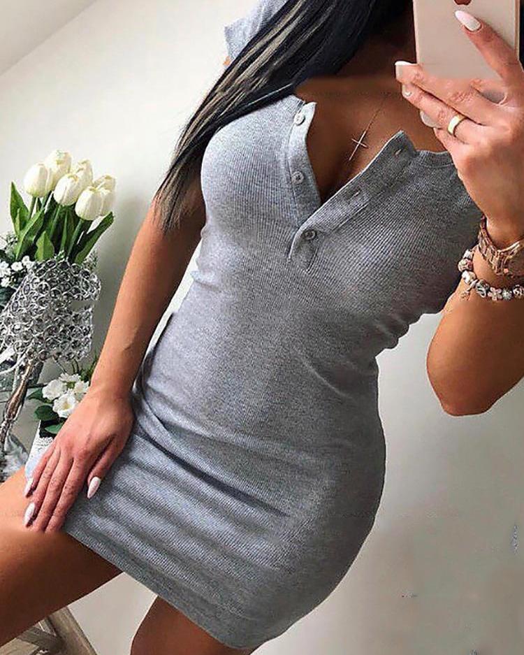 Solid Button Design Short Sleeve Mini Dress