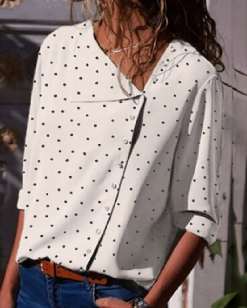 Button Up Dot Print Casual Blouse фото