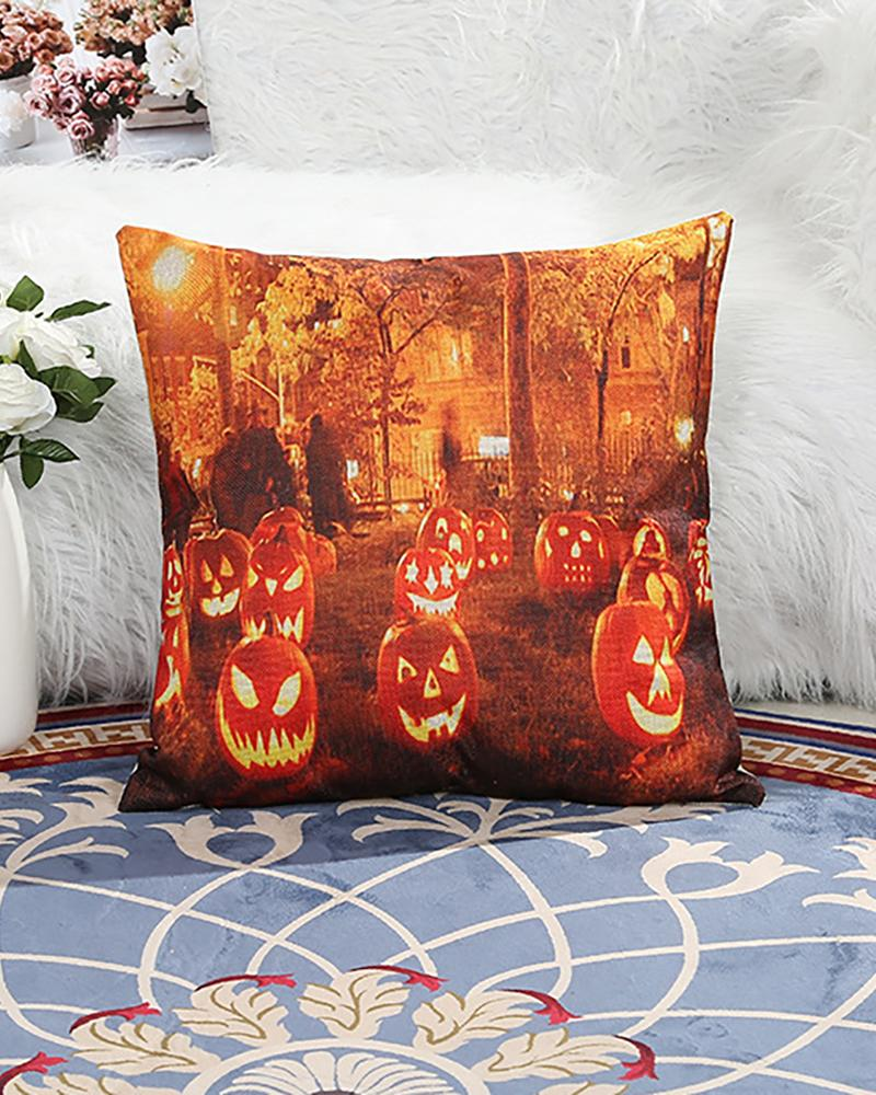Halloween Pumpkin Letter Print Cushion Cover Without Filler фото