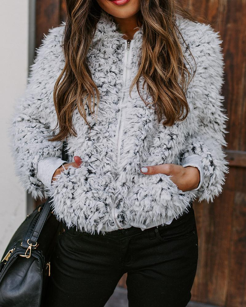 Solid Faux Fur Bomber Jacket, White