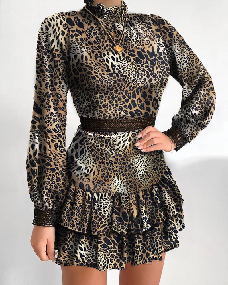 Cheetah Print Frill Hem Lantern Sleeve Dress фото