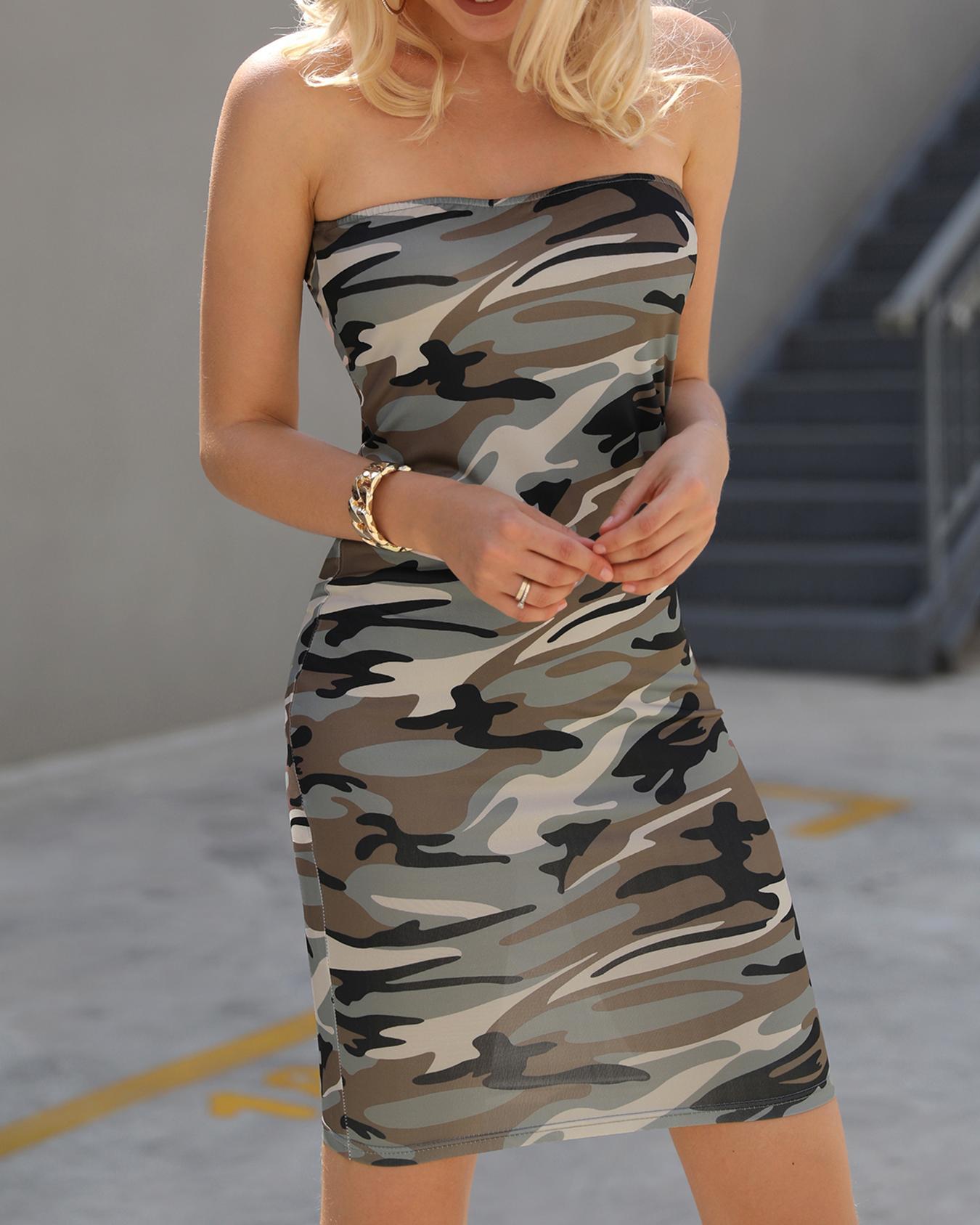 Tube Camo Print Bodycon Mini Dress фото