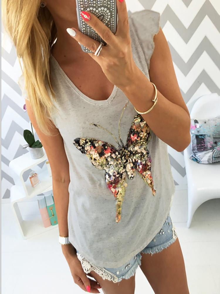 Casual Butterfly Sequins Splicing Vest