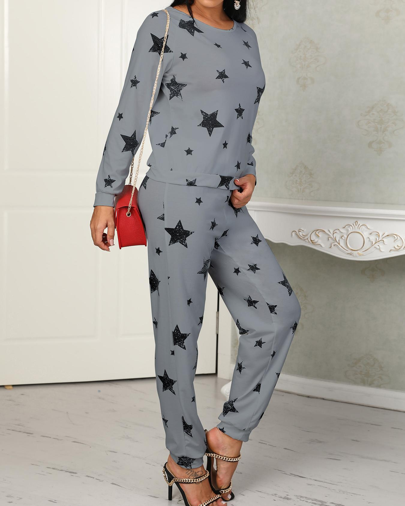 Star Print Casual Pantsuit