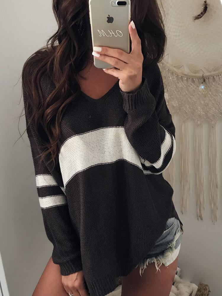 Contrast Stripes V Neck Casual Sweater - Black&White