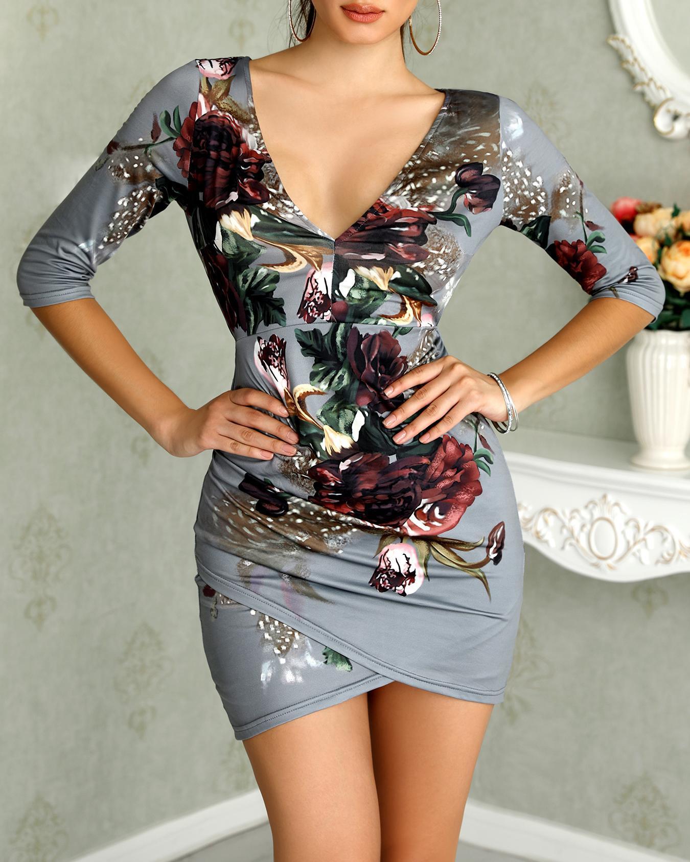 Asymmetric Floral Print Open Back Bodycon Dress фото