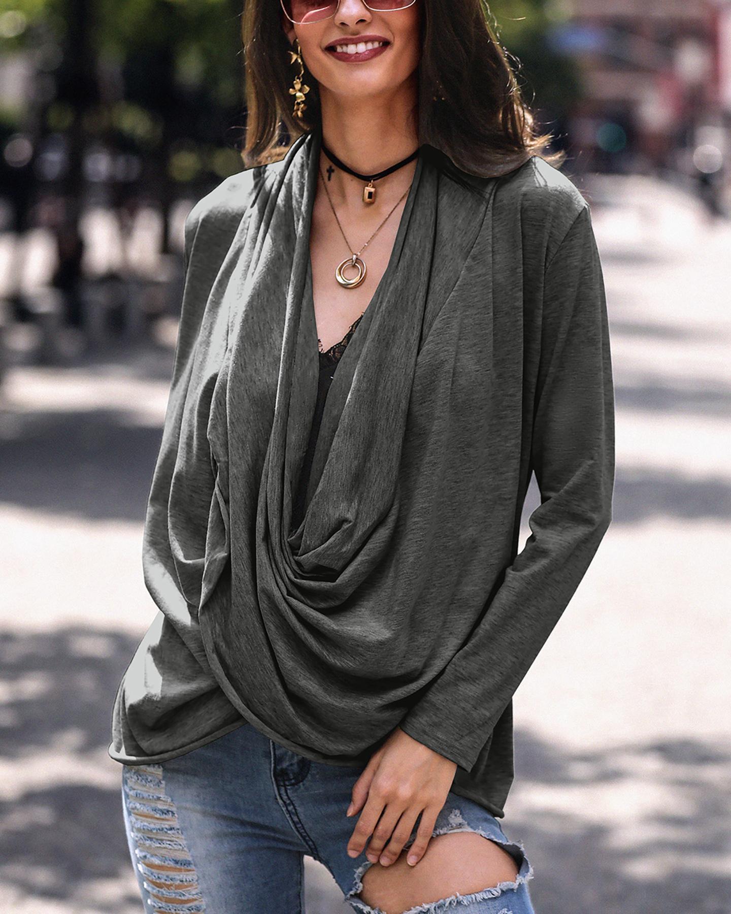 Solid Long Sleeve Drape Blouse фото