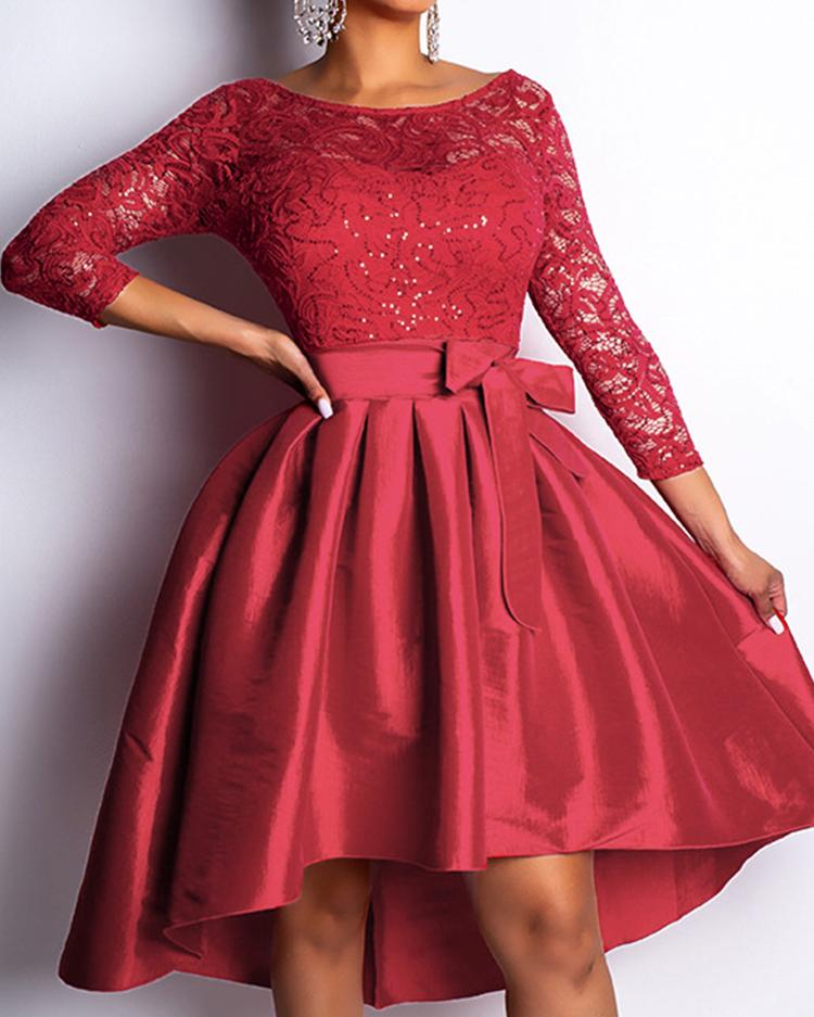 Lace Bodice Irregular Hem Belted Dress, Red